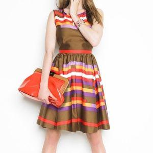 Kate Spade striped bronze silk cotton dress